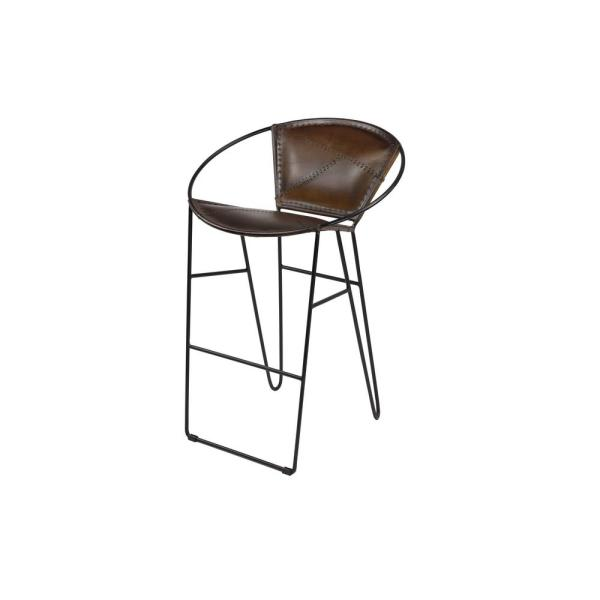 Litton Lane 24 In Tall Brown Leather Bar Stool With Geometric Black Iron Frame And