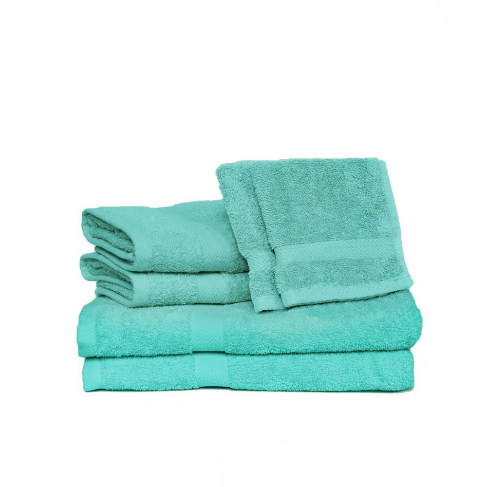 Deluxe 6-Piece Pool Solid Cotton Bath Towel Set
