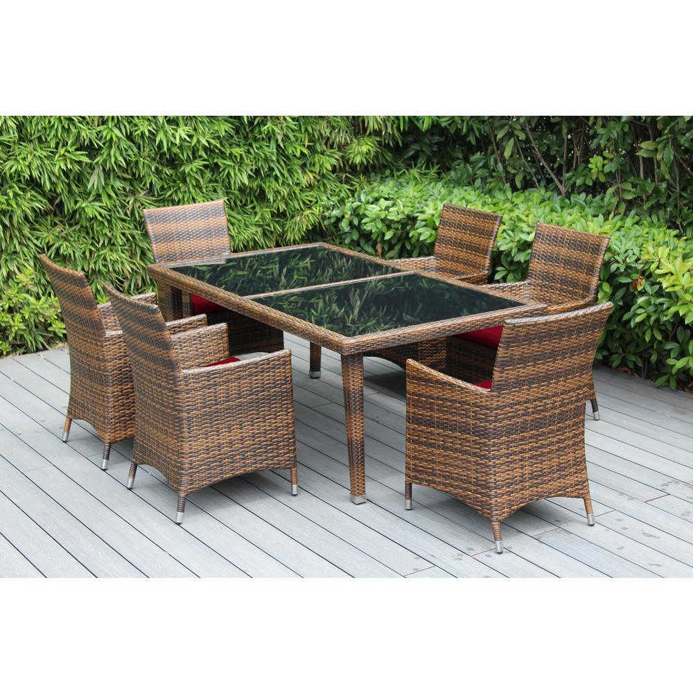 Mixed Brown 7-Piece Wicker Patio Dining Set with Sunbrella Jockey Red