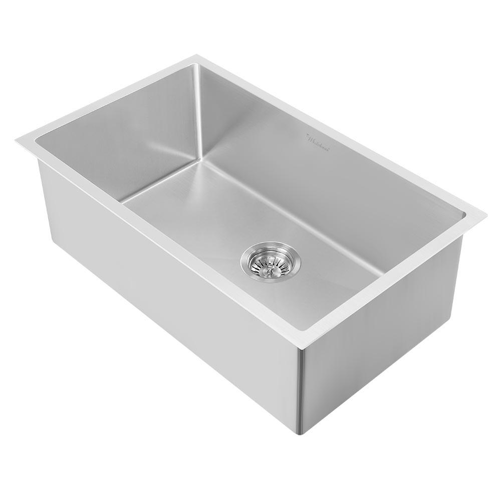 Surprising Whitehaus Collection Noah Plus All In One Dual Mount 33 In Stainless Steel Single Bowl Kitchen Sink In Brushed Stainless Steel Sink Kit Home Interior And Landscaping Palasignezvosmurscom