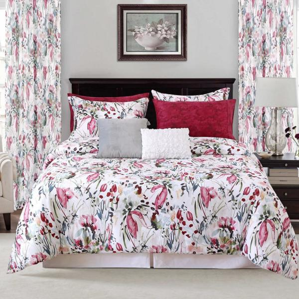 Sara B. Rhapsody 4-Piece Red Full/Queen Comforter Set SBCFRHAP5