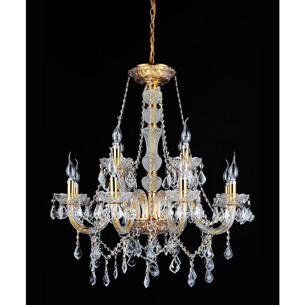 CWI Lighting Princeton 12-Light Gold Chandelier