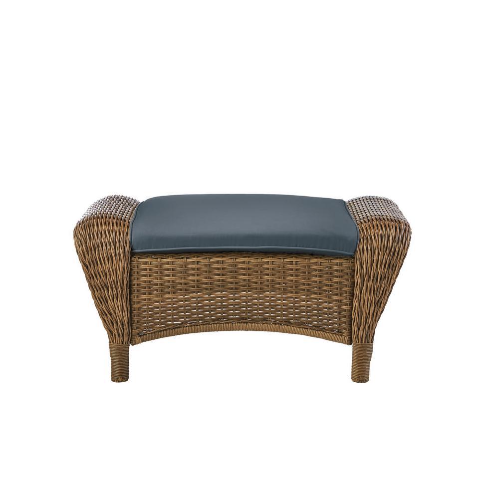Beacon Park Brown Wicker Outdoor Patio Ottoman with Sunbrella Denim Blue Cushions