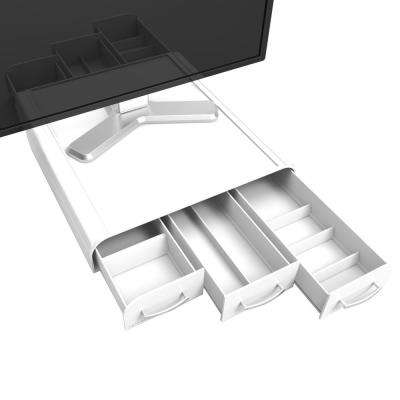 Plastic PC, Laptop, IMAC Monitor Stand and Desk organizer, White