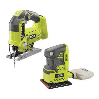 18-Volt ONE+ Lithium-Ion Cordless Orbital Jig Saw and 1/4 Sheet Sander with Dust Bag (Tools Only)
