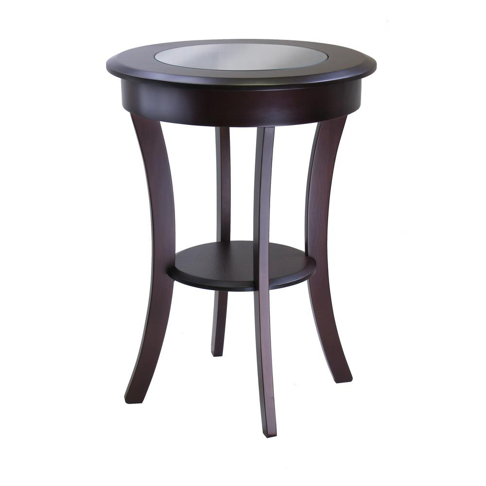 d9b5ceb88dea Winsome Cassie Round Accent Table with Glass-40019 - The Home Depot