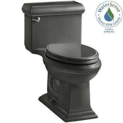 Memoris Classic 1-Piece 1.28 GPF Single Flush Elongated Toilet with AquaPiston Flush Technology in Thunder Grey