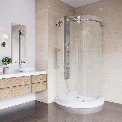 Delightful Frameless Bypass Round Shower Enclosure In Chrome With