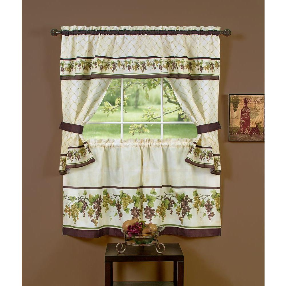 Achim Semi-Opaque 57 in. x 36 in. Tuscany Printed Cottage Set