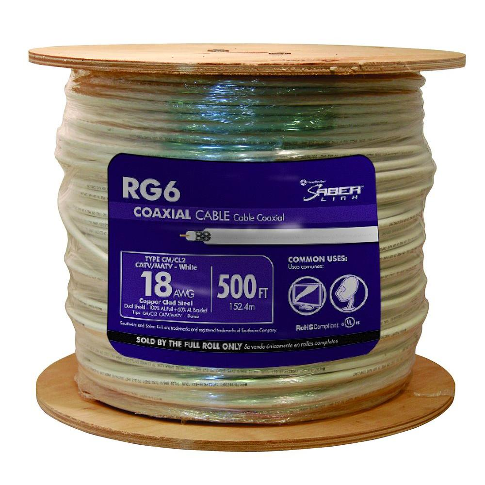 500 ft. 18 RG6 Dual Shield CU CATV CM/CL2 Coaxial Cable in White