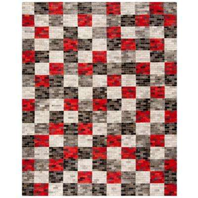 Studio Leather Gray/Red 8 ft. x 10 ft. Area Rug