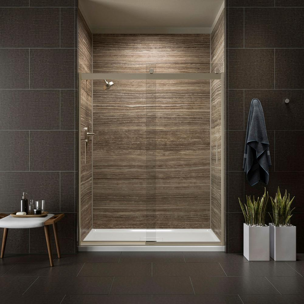 Kohler Levity 59 In X 74 Semi Frameless Sliding Shower Door Bronze With Handle