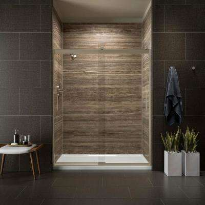 Levity 59 in. x 74 in. Semi-Frameless Sliding Shower Door in Bronze with Handle