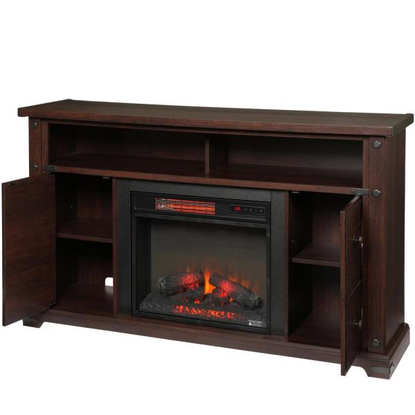 Home Decorators Collection Brannen 60 In Freestanding Industrial Media Console Electric Fireplace Tv Stand In Midnight Cherry 112289 The Home Depot