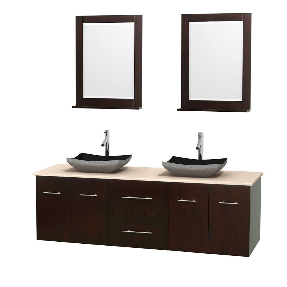 Wyndham Collection Centra 72 in. Double Vanity in Espresso with Marble Vanity Top in Ivory, Black Granite Sinks and 24 in. Mirrors