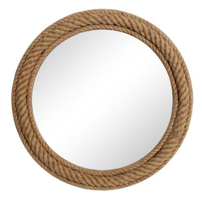 "Round Natural Rope Trimmed Wood Wall Mirror, 32"" X 32"""