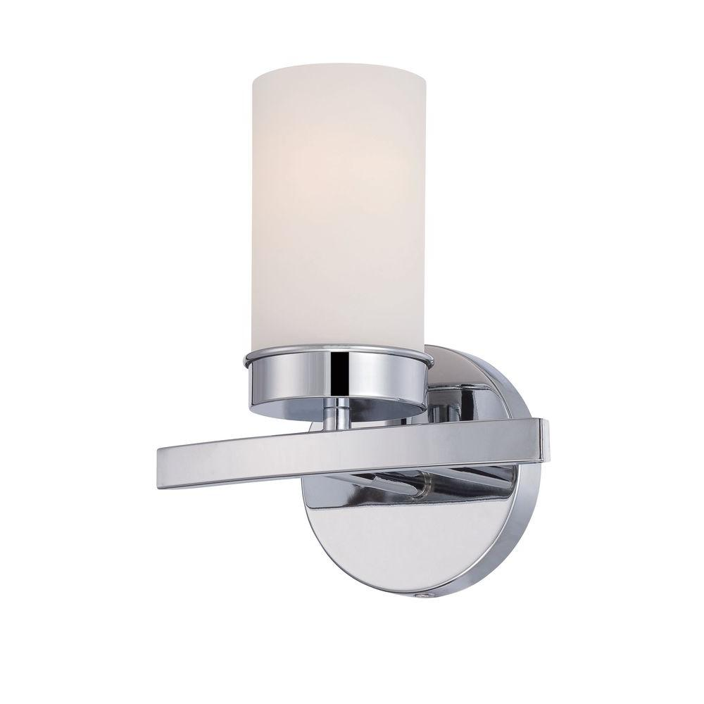 World Imports Kandinsky Collection Chrome Sconce With Opal Gl Shade