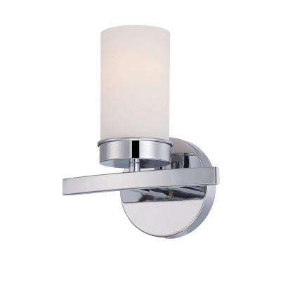 Kandinsky Collection Chrome Sconce with Opal Glass Shade