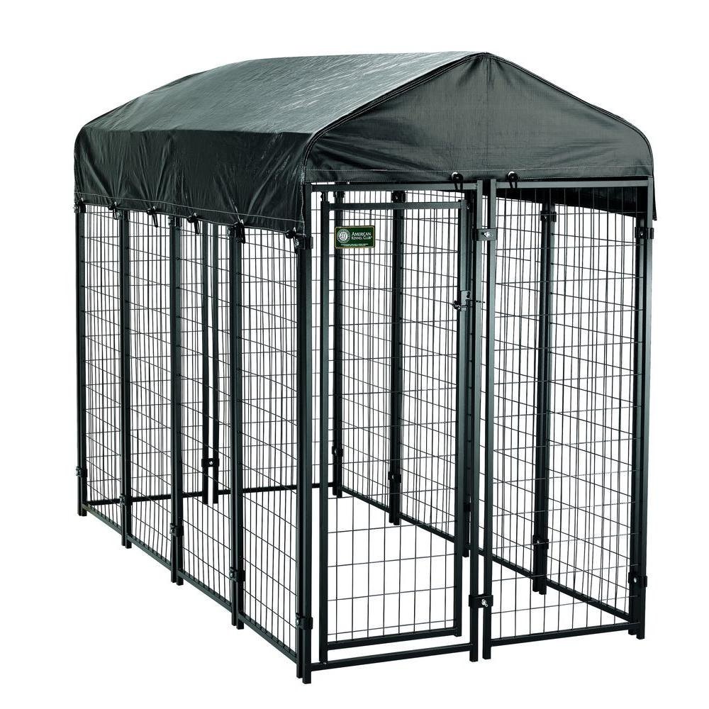 American Kennel Club 4 Ft X 8 Ft X 6 Ft Uptown Premium Steel Boxed Kennel Kit 308606akc The Home Depot