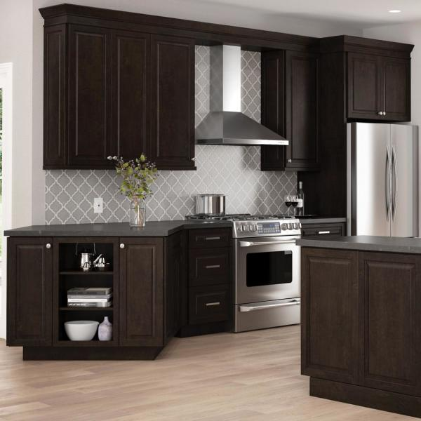Hampton Bay Designer Series Gretna Assembled 30x36x12 In Wall Kitchen Cabinet With Glass Doors In Espresso Wgd3036 Gres The Home Depot