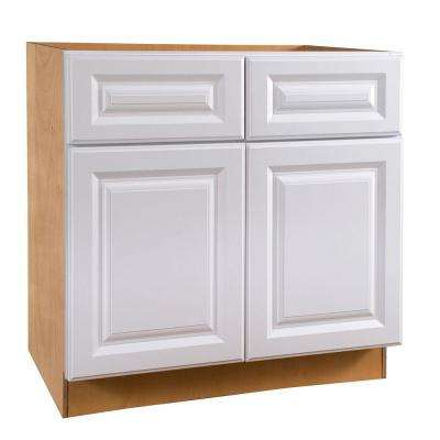 Hallmark Assembled 36x34.5x24 in. Sink Base Kitchen Cabinet with False Drawer Front in Arctic White