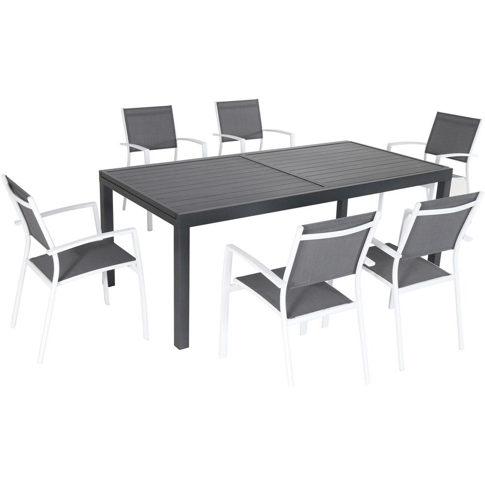 Naples 7-Piece Aluminum Outdoor Dining Set with 6 Sling Chairs Gray/White and a 40 in. x 118 in. Expandable Dining Table  sc 1 st  Home Depot & Hanover Naples 7-Piece Aluminum Outdoor Dining Set with 6 Sling ...