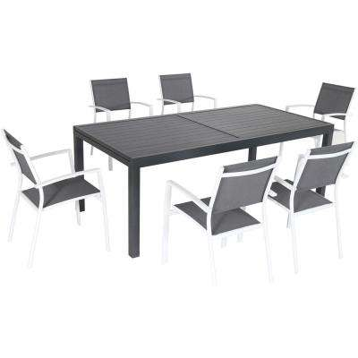 Fine Naples 7 Piece Aluminum Outdoor Dining Set With 6 Sling Chairs Gray White And A 40 In X 118 In Expandable Dining Table Inzonedesignstudio Interior Chair Design Inzonedesignstudiocom