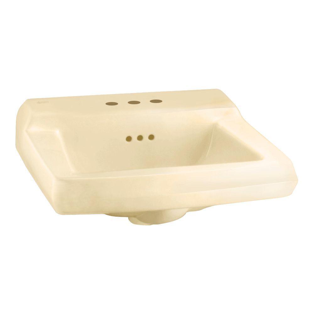 American Standard Comrade Wall Mount Bathroom Sink in Bone-DISCONTINUED