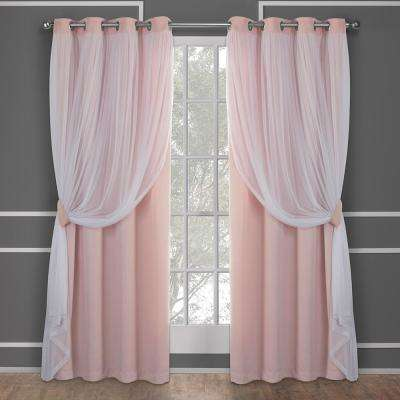 Catarina 52 in. W x 96 in. L Layered Sheer Blackout Grommet Top Curtain Panel in Rose Blush (2 Panels)