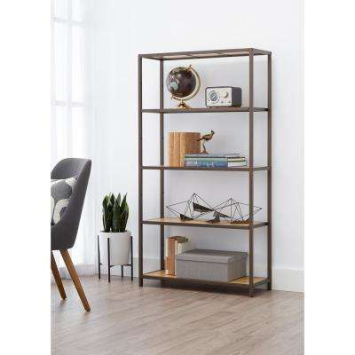 32 in. W x 12 in. D 5-Tier Bronze Anthracite Bamboo Decorative Shelf