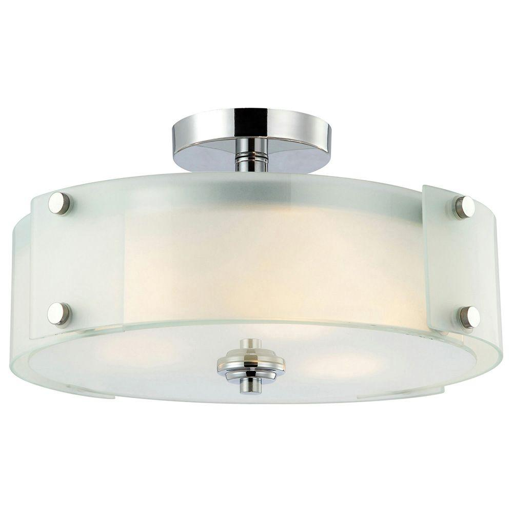 Canarm Scope 3 Light Chrome Semi Flush Mount With Frosted Gl