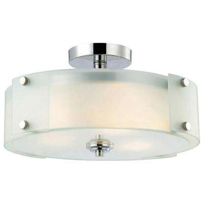 Scope 3-Light Chrome Semi-Flush Mount Light with Frosted Glass