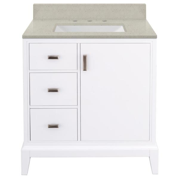 Shaelyn 31 in. W x 22 in. D Bath Vanity in White LH with Engineered Quartz Vanity Top in Stoneybrook with White Sink