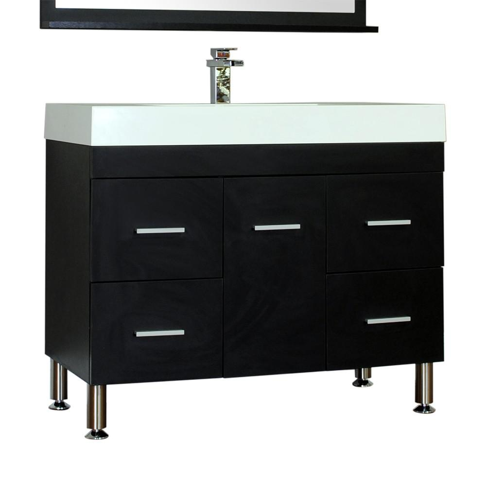 Alya Bath Ripley 39.25 in. W x 18.75 in. D x 33.12 in. H Vanity in Black with Acrylic Vanity Top in White with White Basin