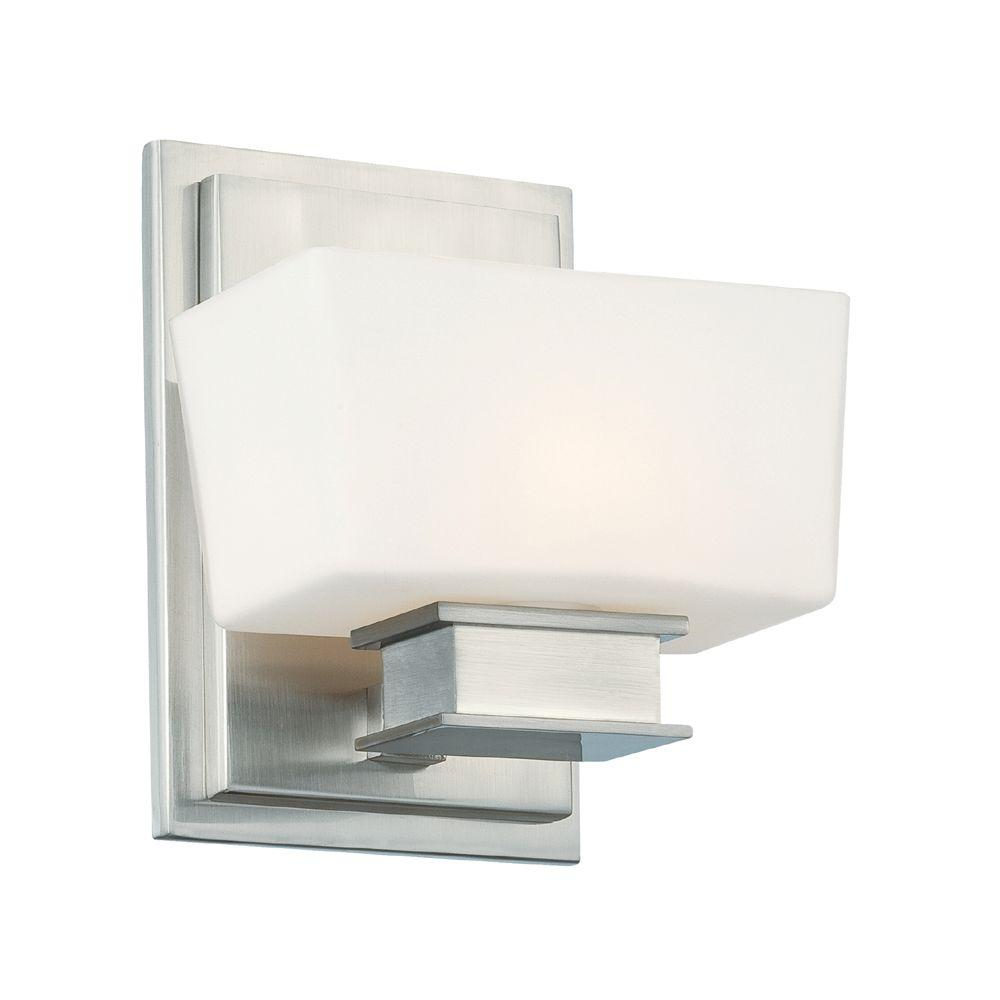 Geneva 1-Light Satin Platinum Interior Halogen Bath Vanity Light