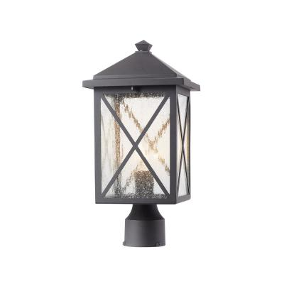 Wythe 1-Light Black Outdoor Post Top Light with Seeded Glass