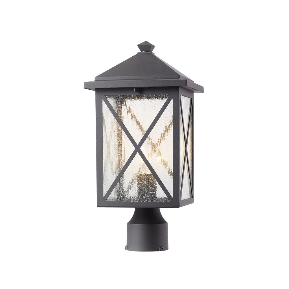 Home Decorators Collection Wythe 1- Light Outdoor Black Post Light with Seeded Glass