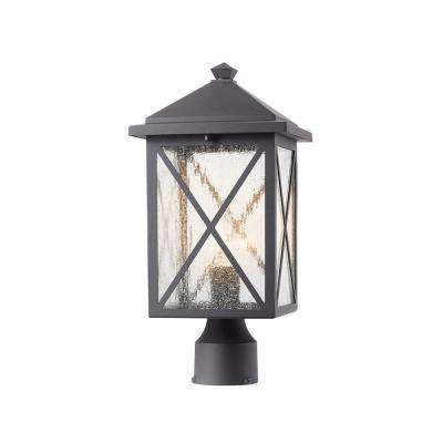 Criss Cross 1- Light Outdoor Black Post Light with Seeded Glass