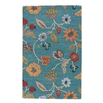Pagoda Blue 8 ft. x 10 ft. Floral Area Rug