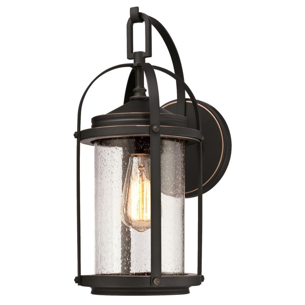 Westinghouse hardwired bronze outdoor wall mounted lighting grandview 1 light oil rubbed bronze with highlights outdoor wall mount lantern aloadofball Choice Image