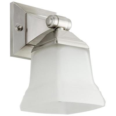 5 in. 1 Light Brushed Nickel Vanity Light with Bell Shape Frosted Glass Shade