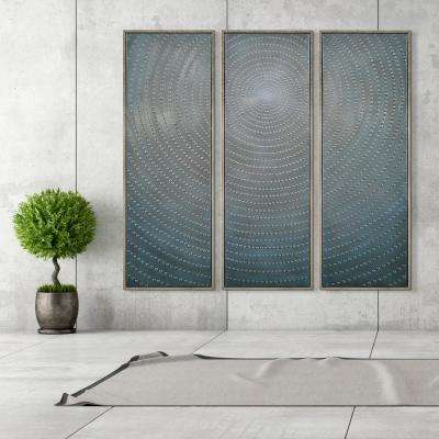 """60 in. x 20 in. """"Concentric"""" - Set of 3 Textured Metallic Hand Painted by Martin Edwards Wall Art"""