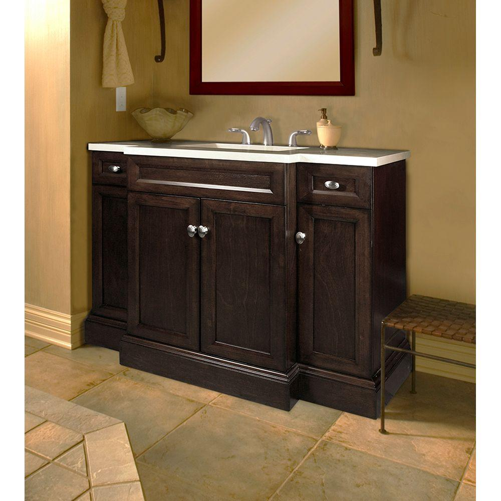 Home Decorators Collection Teagen 42 in. W Bath Vanity in Dark Espresso  with Engineered Stone Vanity Top in Beige