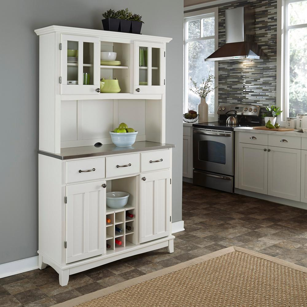Home Styles White Buffet with Hutch5100002322 The Home Depot