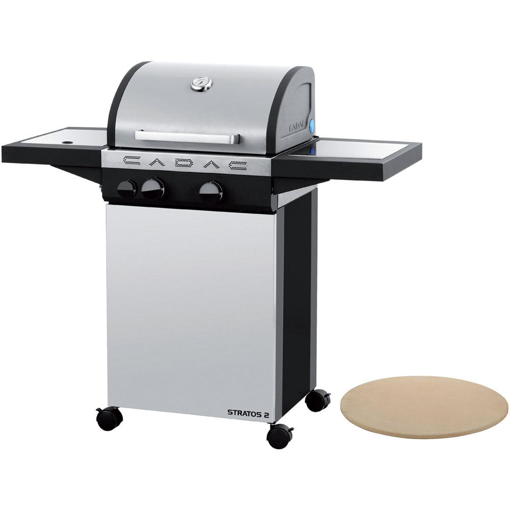 Cadac Stratos 2 2-Burner Propane Gas Grill in Stainless Steel with Pizza Stone