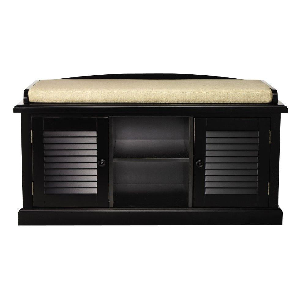 Home decorators collection worn black 2 door storage bench for Home decorators bench