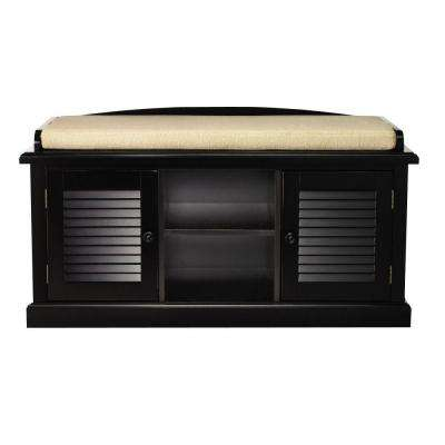 Worn Black 2-Door Storage Bench