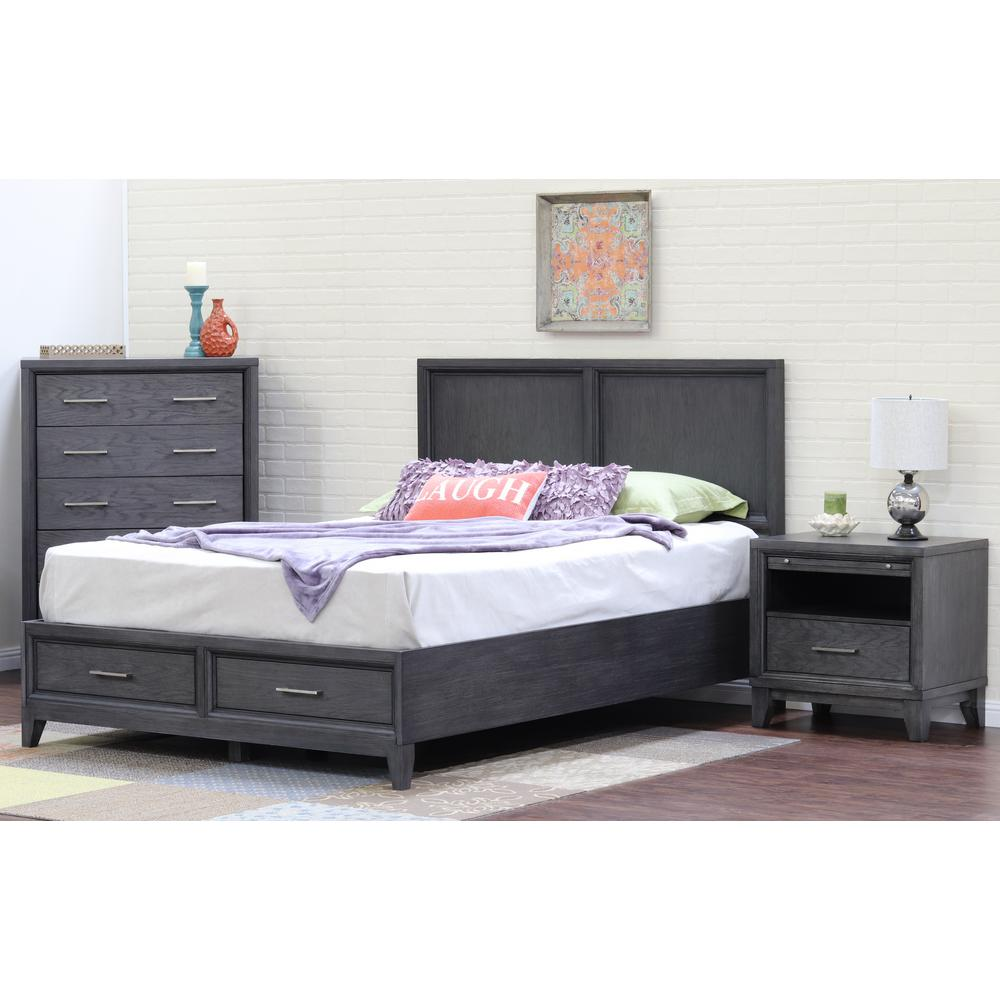 Chelsea Gray Wash King Storage Bed