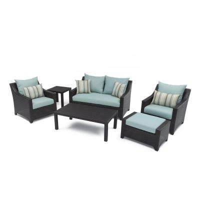Deco 6-Piece Patio Seating Set with Bliss Blue Cushions