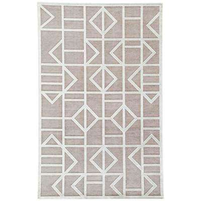 Machine Made Frost Gray 8 ft. x 10 ft. Geometric Area Rug